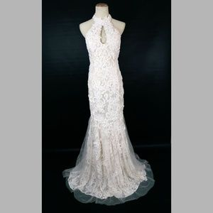 NEW Jovani Ivory Beaded Floral Bridal Wedding Gown